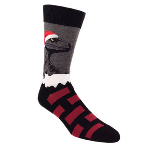 Raptor Claus Christmas Socks in Grey by SockSmith - The Sock Spot