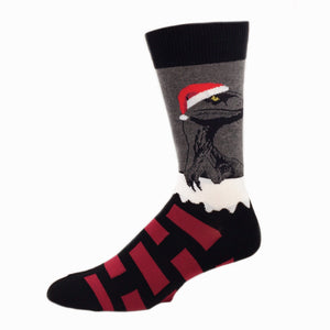 Socks - Raptor Claus Christmas Socks - Grey