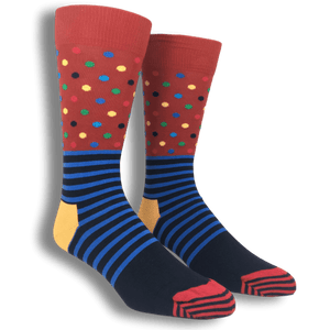 Red and Blue Stripes & Dots Socks by Happy Socks - The Sock Spot