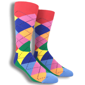 Red, Blue, and Green Argyle Socks by Happy Socks - The Sock Spot
