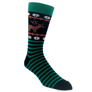 Socks - Reindeer Non-Skid Christmas Socks - Green