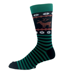 Reindeer Non-Skid Christmas Socks in Green by Hot Sox - The Sock Spot