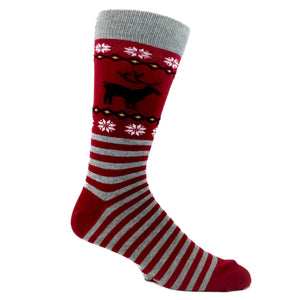 Reindeer Non-Skid Christmas Socks in Red by Hot Sox - The Sock Spot