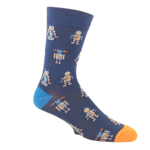 Retro Robot Socks in Blue by Good Luck Sock - The Sock Spot