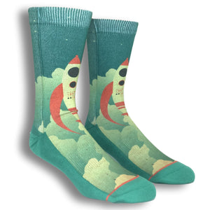 Rocket Ship Printed Socks by Good Luck Sock - The Sock Spot