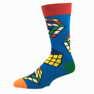 Rubik's Cube Socks in Blue by SockSmith - The Sock Spot