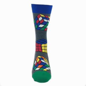 Rubik's Cube Socks in Grey by SockSmith - The Sock Spot
