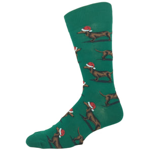 Santa Dog Socks in Green by Hot Sox - The Sock Spot