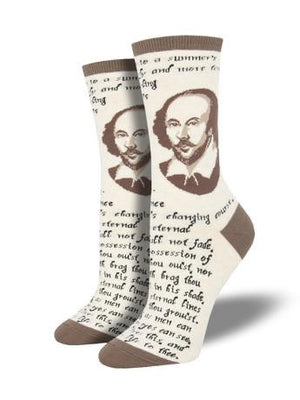Shakespeare Sonnet in Ivory Women's Socks by SockSmith - The Sock Spot