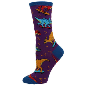 Skate or Dinosaur Women's Socks in Blue by SockSmith - The Sock Spot