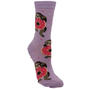 Snackin' Sloth Women's Socks in Purple by Sock it to Me - The Sock Spot