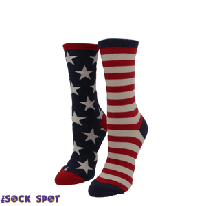 Stars and Stripes Vintage Women's Socks in Blue by SockSmith - The Sock Spot