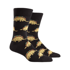 Tacosaurus Men's Socks in Black by Sock it to Me - The Sock Spot