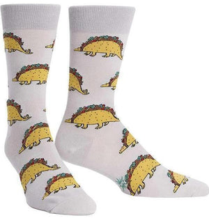 Tacosaurus Men's Socks in Grey by Sock it to Me - The Sock Spot