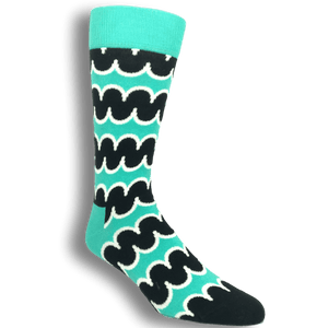 Teal and Black Squiggly Socks by Happy Socks - The Sock Spot