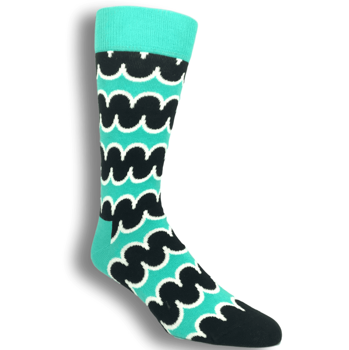 Socks - Teal And Black Squiggly Socks By Happy Socks
