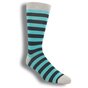 Socks - Teal And Navy Striped Bamboo Socks