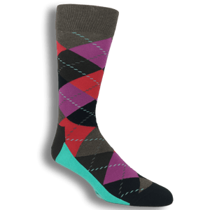 Teal, Red, and Grey Argyle Socks by Happy Socks - The Sock Spot
