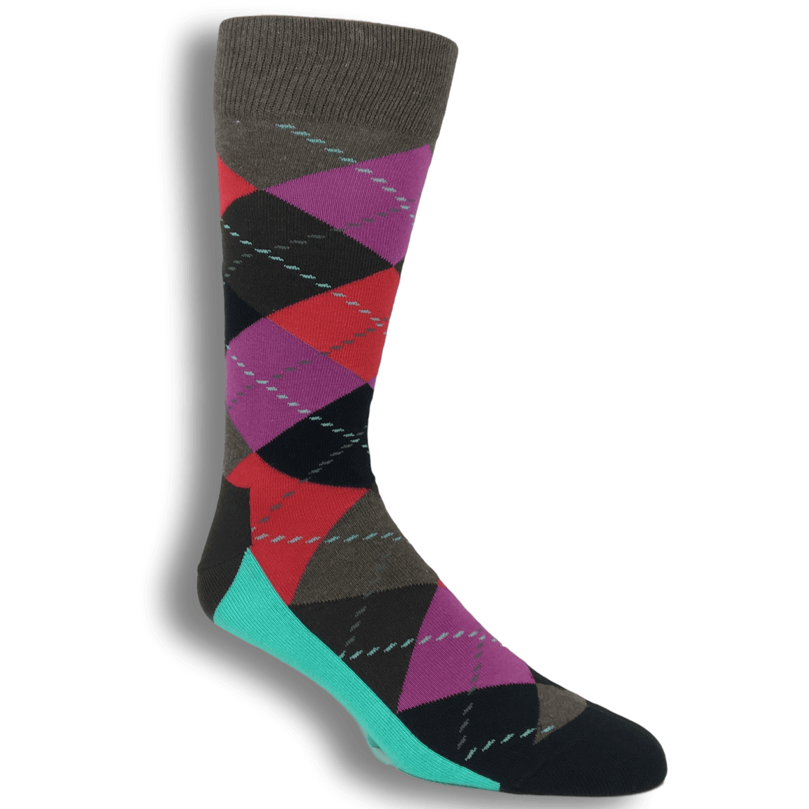 Socks - Teal, Red, And Grey Argyle Socks By Happy Socks