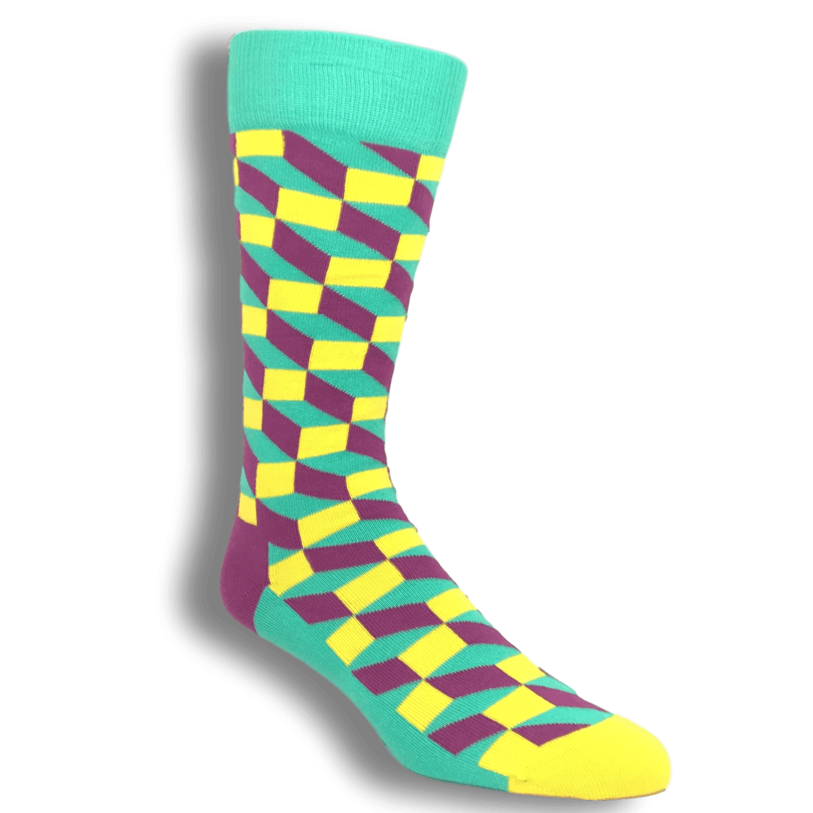 Teal, Yellow, and Pink Filled Optic Socks by Happy Socks - The Sock Spot
