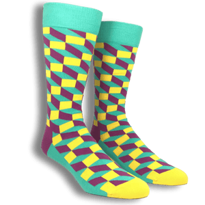 Socks - Teal, Yellow, And Pink Filled Optic Socks By Happy Socks