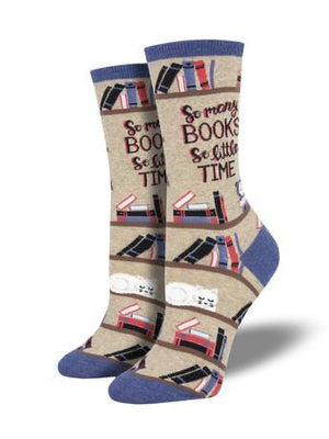 Socks - Time For A Good Book In Tan Women's Socks By SockSmith