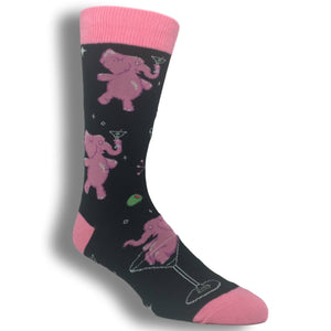 Tipsy Pink Elephants Socks - Black - The Sock Spot