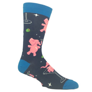 Tipsy Pink Elephants Socks - Navy - The Sock Spot