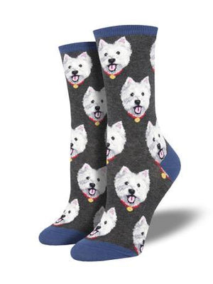 Westies in Grey Women's Socks by SockSmith - The Sock Spot