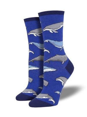 Whale, Whale, Whale in Blue Women's Socks by SockSmith - The Sock Spot