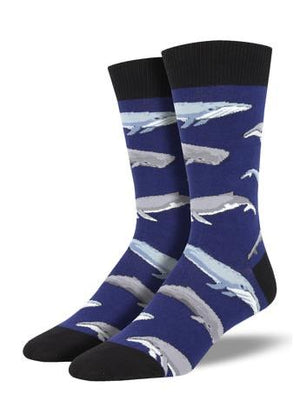 Whale, Whale, Whale Men's Socks in Blue by SockSmith - The Sock Spot