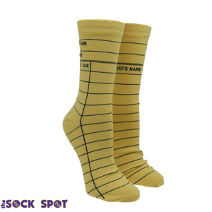 Yellow Library Card Socks - Small - The Sock Spot