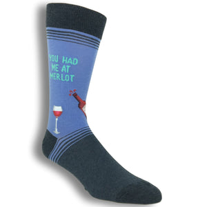 You Had Me at Merlot Socks in Blue by Hot Sox - The Sock Spot
