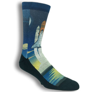 Space Shuttle Printed Socks By Good Luck Sock