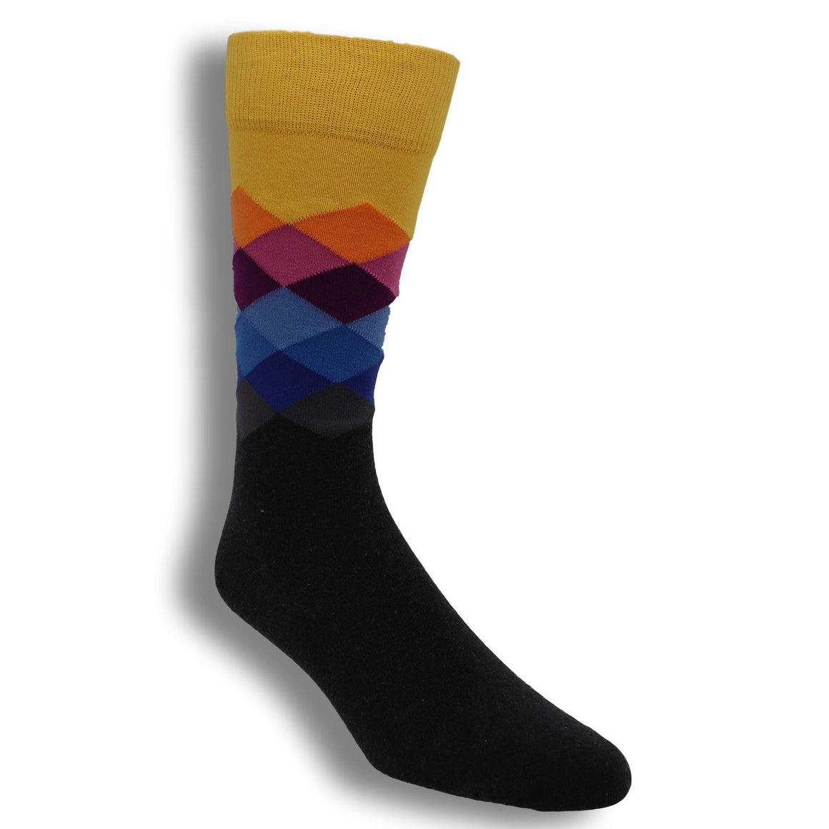 Yellow, Orange, And Blue Faded Diamond Socks By Happy Socks