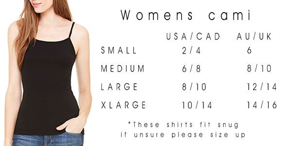 womens cami size chart