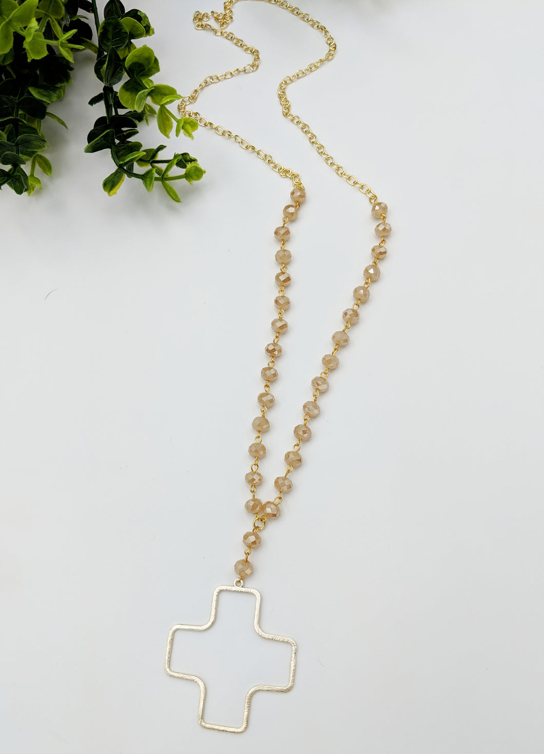 Long Half Chain Half Bead Open Brushed Cross