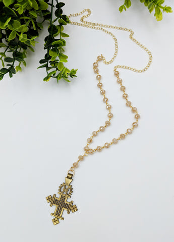 Long Half chain half bead neutral crystal cross