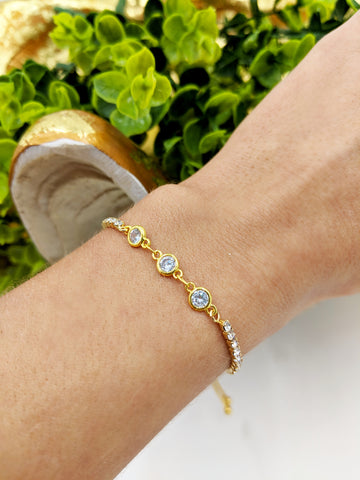 Crystal cz adjustable bracelet