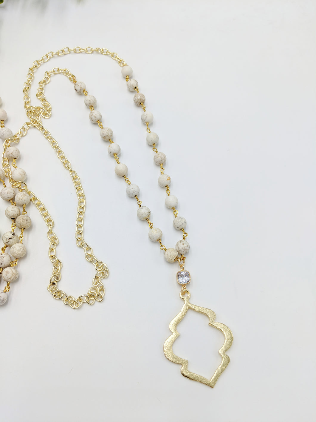 Long Chain Brushed Gold Necklace