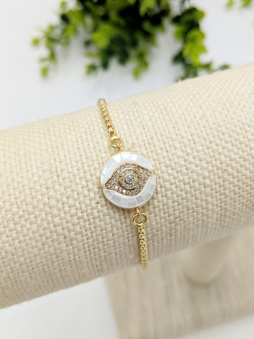 Shell evil eye adjustable bracelet