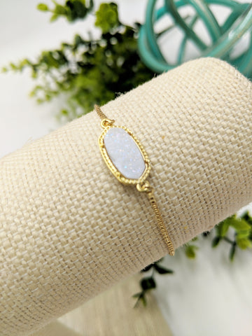 White druzy adjustable bracelet