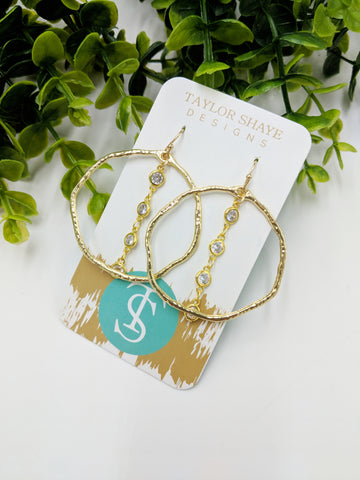 Crystal hammered hoops