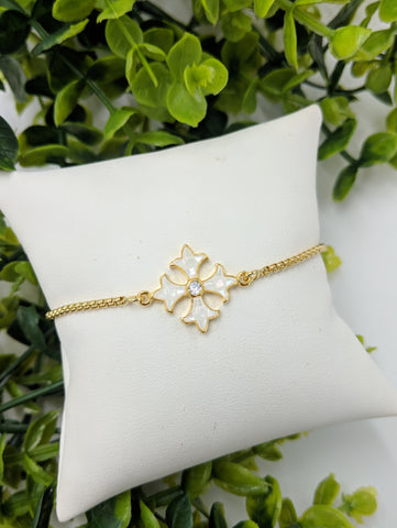 Shell Coptic Cross adjustable bracelet