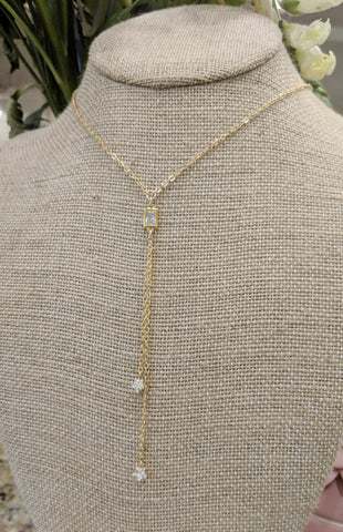 Dainty double lariat necklace