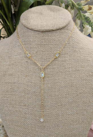 Dainty rectangle cz lariat necklace