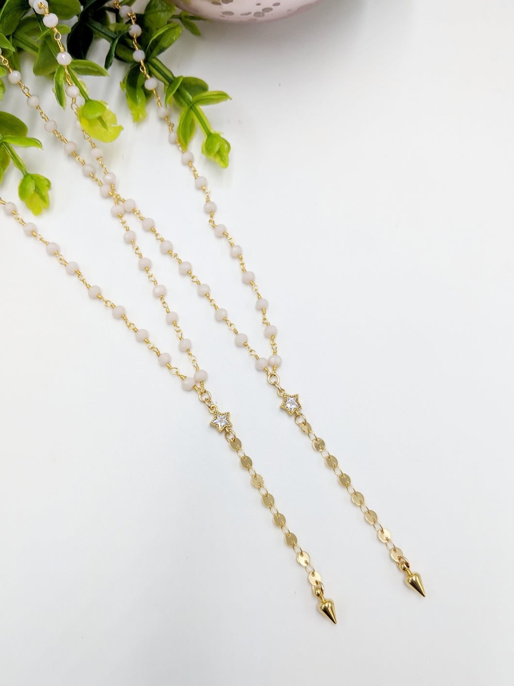 Rosary Coin Lariat Necklace