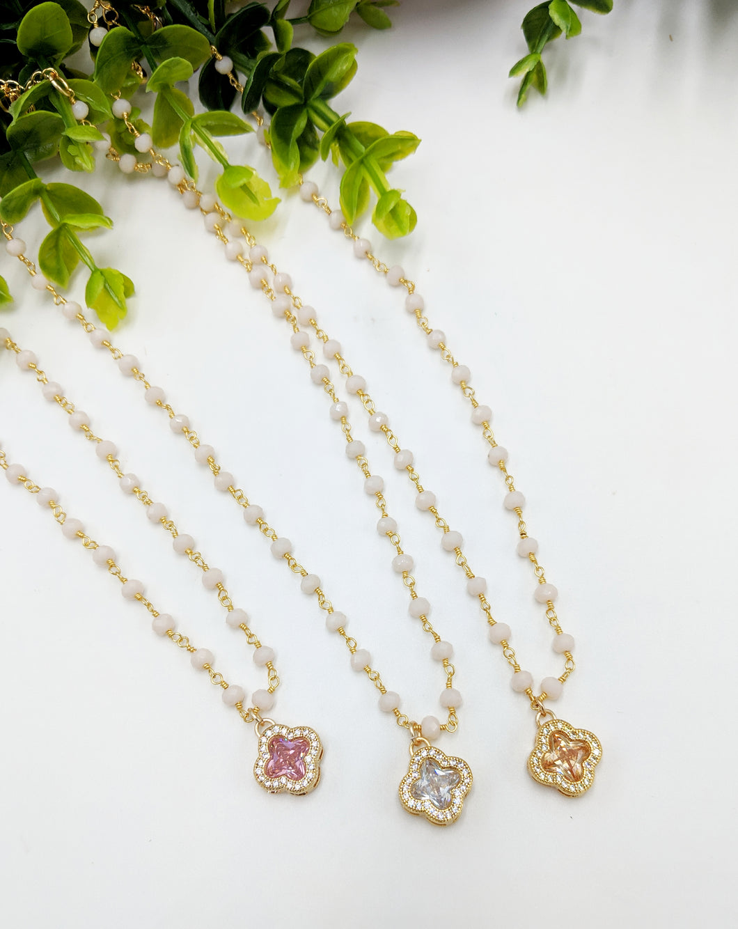 Crystal Clover Rosary Necklace