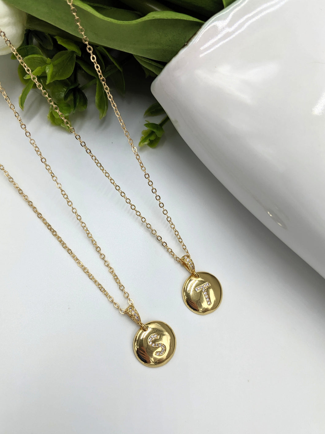 Gold Filled Round Initial Necklace