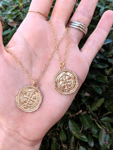 Gold filled Dainty chain coin necklace